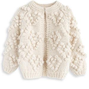 Chunky Knit Ivory Heart Cardigan NWT Sz M